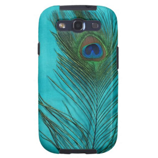 Two Aqua Peacock Feathers Samsung Galaxy S3 Covers