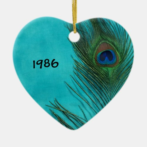 Two Aqua Peacock Feathers Ceramic Ornament