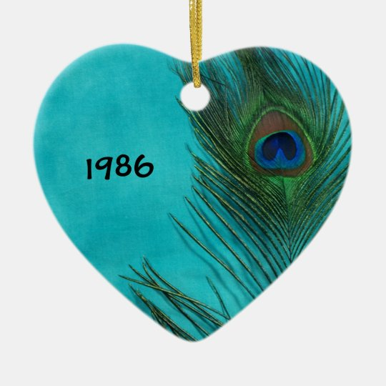 Two Aqua Peacock Feathers Ceramic Ornament