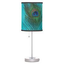 Two Aqua Peacock Feathers Desk Lamp