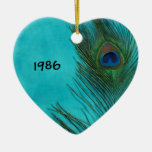 Two Aqua Peacock Feathers Double-Sided Heart Ceramic Christmas Ornament