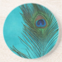 Two Aqua Peacock Feathers Drink Coaster