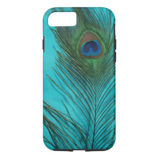 Two Aqua Peacock Feathers iPhone 8/7 Case