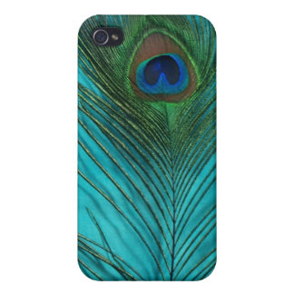 Two Aqua Peacock Feathers iPhone 4 Covers