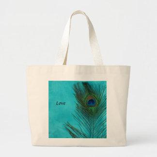 Two Aqua Peacock Feathers Jumbo Tote Bag