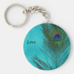 Two Aqua Peacock Feathers Basic Round Button Keychain