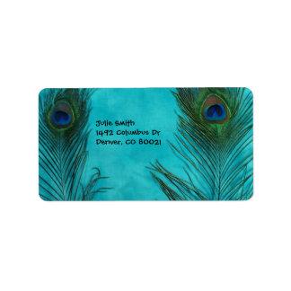 Two Aqua Peacock Feathers Address Label