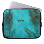 Two Aqua Peacock Feathers Laptop Sleeves