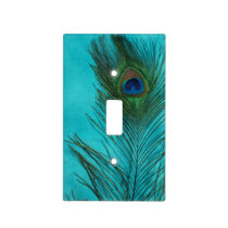 Two Aqua Peacock Feathers Light Switch Cover