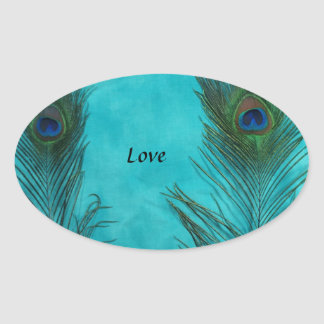 Two Aqua Peacock Feathers Stickers