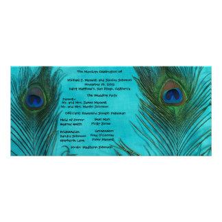 Two Aqua Peacock Feathers Wedding Program Personalized Rack Card