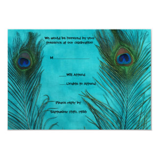 Two Aqua Peacock Feathers Wedding RSVP Cards
