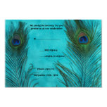 Two Aqua Peacock Feathers Wedding RSVP Cards Invites