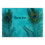 Two Aqua Peacock Feathers Wedding Thank You Cards