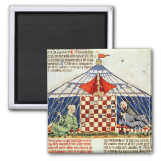 Two arabs playing chess in a tent 2 inch square magnet