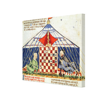Two arabs playing chess in a tent canvas print