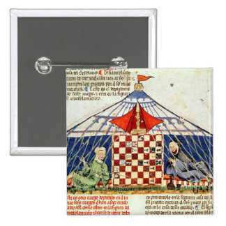 Two arabs playing chess in a tent pinback button