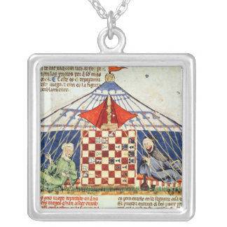 Two arabs playing chess in a tent silver plated necklace