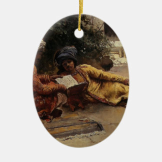 Two Arabs Reading by Edwin Lord Weeks Double-Sided Oval Ceramic Christmas Ornament