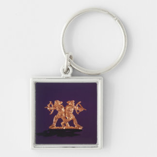 Two archers Silver-Colored square keychain