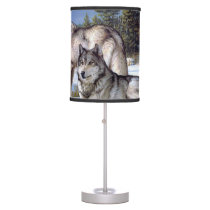 Two arctic wolves painting table lamp