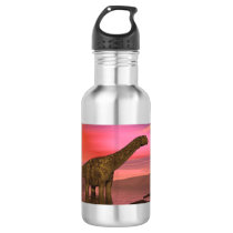 Two argentinosaurus dinosaurs water bottle
