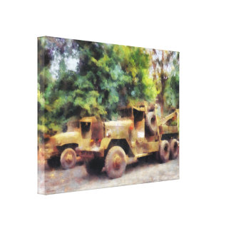Two Army Trucks Stretched Canvas Prints