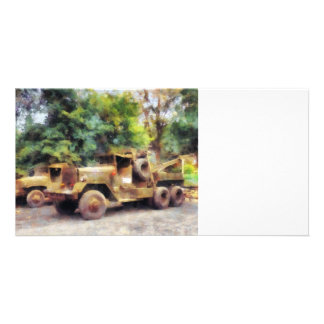 Two Army Trucks Personalized Photo Card
