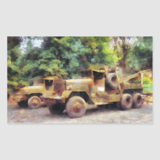 Two Army Trucks Rectangular Sticker