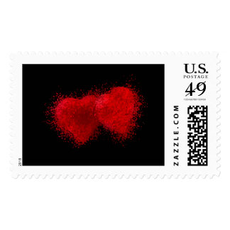 TWO AS ONE (particle hearts comming together) ~.jp Postage Stamps