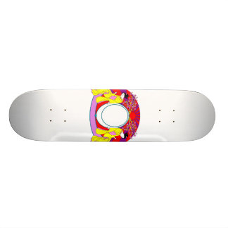 Two asian ladies with sun graphic design colorful skateboard decks
