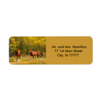 Two Autumn Chestnut Horses Label