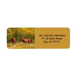Two Autumn Chestnut Horses Label