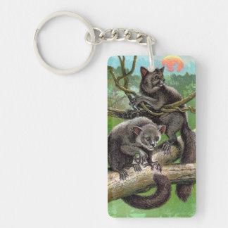 Two Aye-Ayes in a Tree in Madagascar Vintage Keychain