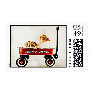 Two Baby Chicks in Red Wagon Postage