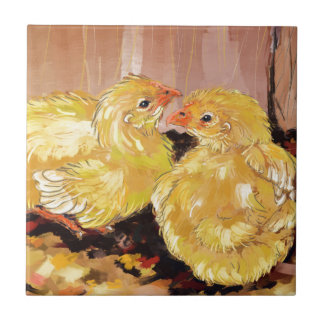 Two baby Cornish chicks Tile