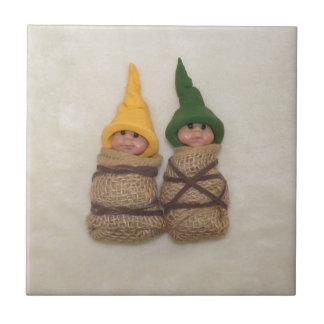 Two Baby Elves: Sculpture: Couple, Friends Ceramic Tile