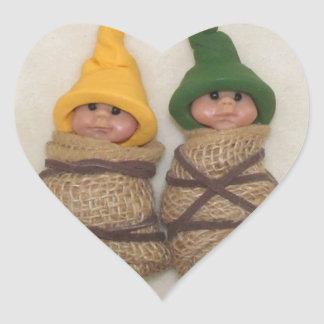 Two Baby Elves: Sculpture: Couple, Friends Heart Sticker