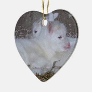 Two Baby Goats in Straw Ceramic Ornament