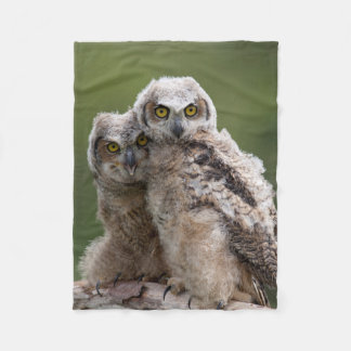 Two Baby Great Horned Owls Perching On A Branch Fleece Blanket