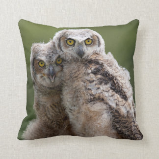Two Baby Great Horned Owls Perching On A Branch Throw Pillow