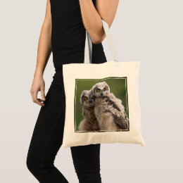 Two Baby Great Horned Owls Tote Bag