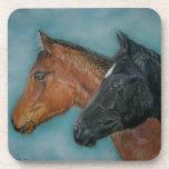 Two baby horses black foal chestnut foal portrait beverage coaster