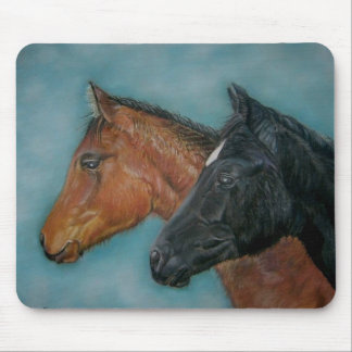 Two baby horses black foal chestnut foal portrait mouse pad