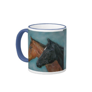 Two baby horses black foal chestnut foal portrait ringer coffee mug