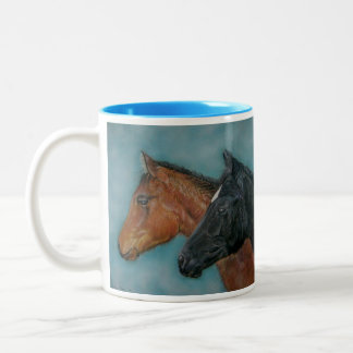 Two baby horses black foal chestnut foal portrait Two-Tone coffee mug