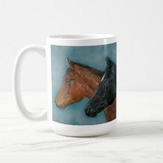 Two baby horses black foal chestnut foal portrait classic white coffee mug