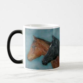 Two baby horses black foal chestnut foal portrait mugs