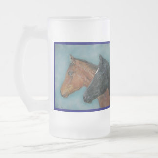 Two baby horses black foal chestnut foal portrait 16 oz frosted glass beer mug