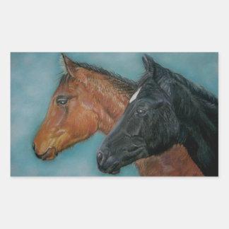 Two baby horses black foal chestnut foal portrait rectangular sticker